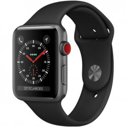 APPLE Watch Series 3 GPS + Cellular - Boîtier 38 mm Gris sidéral Aluminium - Bracelet Sport Noir